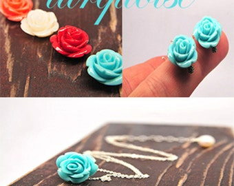 Turquoise Rose Necklace and Earring Set/ Set of Vintage Style Turquoise Rose Bridesmaid Gift Ideas