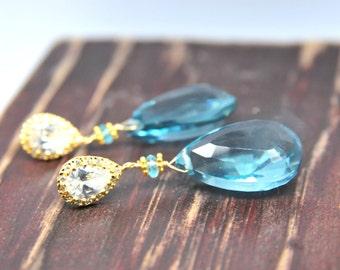 Blue Topaz Earrings/Bridal Blue Topaz Earrings/Topaz Statement Earrings with Pear Shape CZ Post