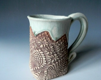 Handmade Diamond Lace-Impressed 12oz. Ceramic Mug