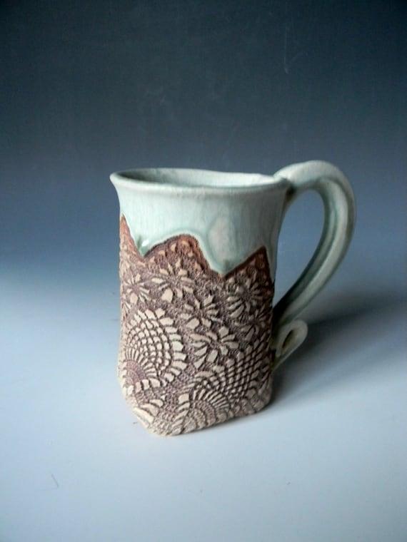Handmade Diamond Lace-Impressed 12oz. Ceramic Mug