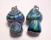 New 2 Fimo Polymer Clay Beads Mushroom Green Teddy Bear Pendant  Beads