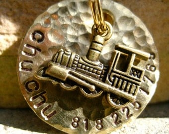 The ChuChu (#091) - Pet Tag Unique Handstamped Travel Antique Brass Train Pet ID Dog