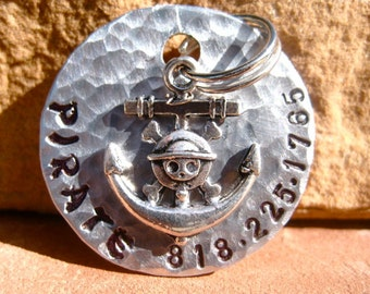 "The Pirate (#049)- Unique Pet ID Tag Silver 1.25"" Pirate Anchor Skull Large Dogs"