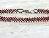 Red Black Beaded Chain Bracelet Rainbow Finish Shiny