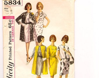 Vintage Simplicity 5834, Misses' one piece Dress and Coat or Jacket Sewing Pattern