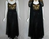 1950s Gotham Gold Black Peignoir Set, 32, small,  Nightgown Robe,