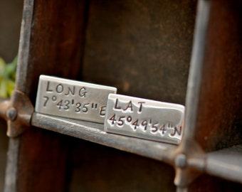Personalised Long Lat Cufflinks - silver cuff links, personalized cuff links, wedding day gift, groom cuff links