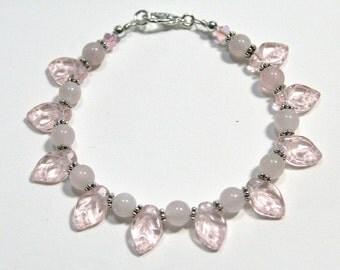 Pink Leaves Rose Quartz and Silver Bracelet