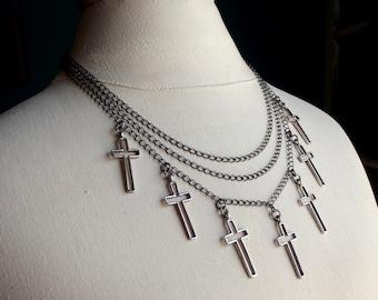 Multi Cross Necklace:  Triple Strand Chain, Layered Bib, Silver Charm, Rocker Gothic Edgy Jewelry