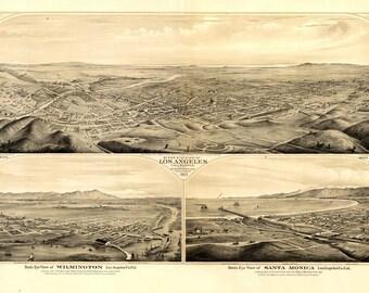 Vintage Map - Los Angeles, Wilmington, Santa Monica California 1877