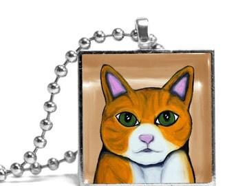 Orange Cat Necklace - Original Design