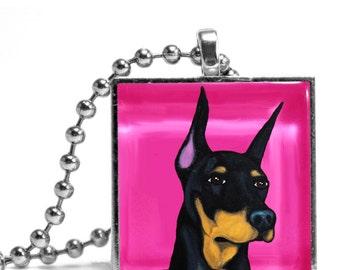 Doberman in Pink Necklace
