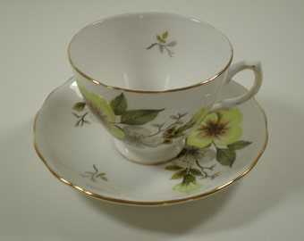 Vintage Teacup and Saucer // White with Blossoms // Royal Vale
