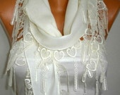 Creamy White Heart Pashmina Scarf,Soft,Bridal Scarf,Wedding Scarf,Necklace, Cowl Bridesmaid Gift For Her Women Fashion Accessories,LOVE