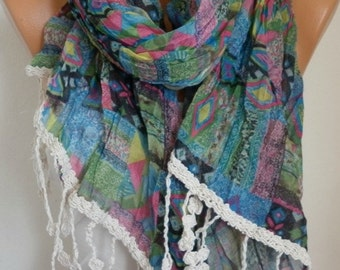 Southwestern Cotton Scarf, Summer, Aztec, Tribal Scarf Shawl Cowl Scarf Geometrical Print Gift Ideas For Her Women Fashion Accessories