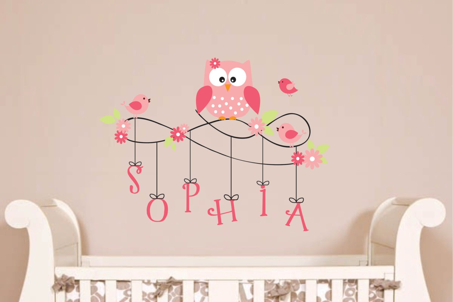 Owl wall decal personalized monogram childrens by - Stickers muraux repositionnables bebe ...