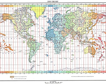 World Map of the Time Zones Full Color 1893 Print Poster