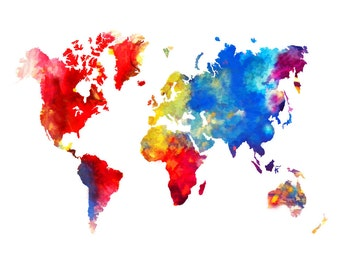 World Map 16x20 Abstract Painting Print Poster
