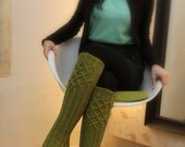 Lime-green knee socks, new pattern