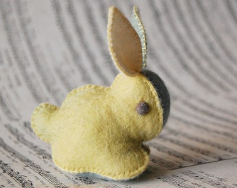 Pastel Colors Felted BUNNY RABBIT TOY - Handmade Felt Unique Small Soft Sculpture Pure Wool