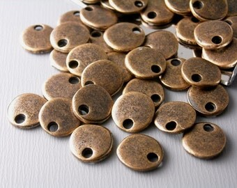 DISC-CPPR-8MM - Antiqued Copper Tiny Disc - 10 pcs