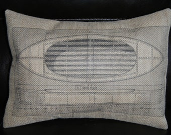 Blue Print Boat  Burlap Pillow, Industrial Chic, INSERT INCLUDED
