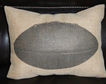 Vintage Football Burlap Pillow, Sports Football, INSERT INCLUDED