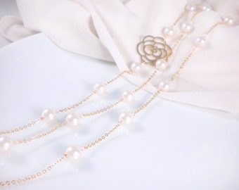 "Long pearl necklace, Swarovski pearl station necklace, 40"" necklace, available in gold or silver"