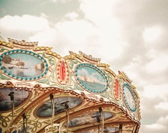 Carousel, Fun Fair, Vibrant, Carnival Ride, Clouds, Sky - Fine Art Photography Giclee Print /  Wall Art, Office - Going In Circles