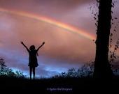 Rainbow, Little Girl, Sunset, Home Decor, Archival Print, Joyful Scene, Silhouette, Tree, Decor