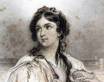 """Vintage / Antique Engraving of Desdemona from Shakespeare's """"Othello"""" (c.1835) - Rare Book Plate Collectible"""