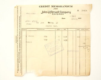 Vintage / Antique John V Farwell Company Receipt (c1923) - Collectible Ephemera, Altered Art Supply
