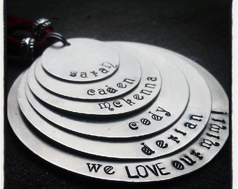 PERSONALIZED Hand Stamped Layered Silver (5) Disc Tag Necklace