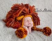 Crochet Lion Hat - Newborn Photo Prop - Girl Or Boy - Size NEWBORN