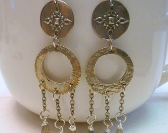 Handcrafted Fine Silver .999 Dangle Earrings with Natural Labradorite Gemstones