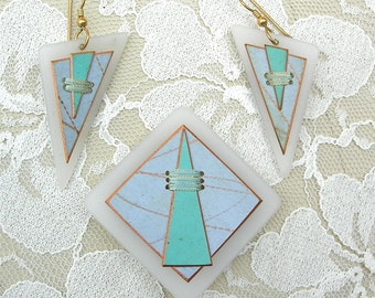 SUMMER SALE Boutique Artisan Geometric Pin & Earrings, Turquoise and Blue, like new