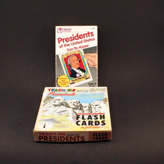 vintage president flash cards teach me and trend