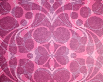 Retro Wallpaper by the Yard 70s Vintage Wallpaper - 1970s Pink and Purple Geometric Damask