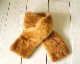 Vintage fur collar honey mink lined 1950s