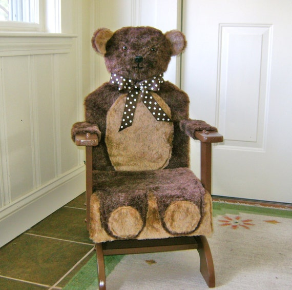 items similar to childs teddy bear rocking chair on etsy. Black Bedroom Furniture Sets. Home Design Ideas
