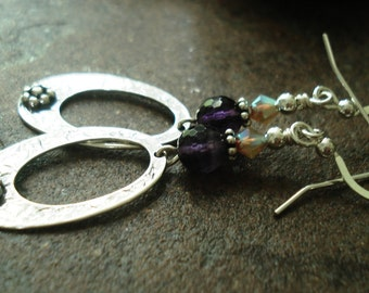 Handmade Earrings, Large Oval Drops with Faceted Amethyst, Sterling Silver