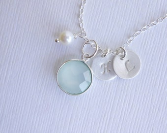 Sterling Silver Sea Green Chalcedony Stone Necklace with Two Custom Initial Discs and Pearl -- Mother of Two -- Sweetheart Necklace