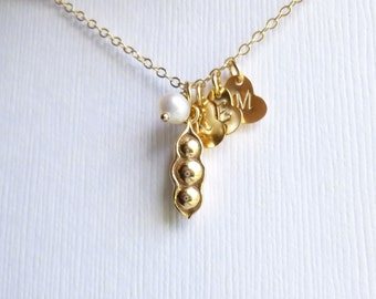 Gold Three Peas in a Pod Initial Necklace -- Personalized Hearts -- 14K Gold Filled Chain --  Mothers - Friendship