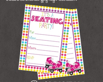 Roller Skate Party Package- Invitation plus 4 add ons -digital you print your own - INSTANT DOWNLOAD