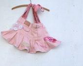 summer rose pink vintage lace mini skirt rose bag purse ipad bag gym bag shabby chic upcycled