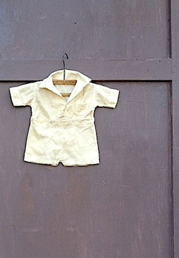 ecru tea Retro baby outfit vintage suit photo stylist Mid century mad men shower gift hand dyed  sweet toddler antique