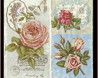 4 Napkins Shabby Chic Nostalgic Paper Napkins - Victorian - Use For Decoupage, Mixed Media, Scrapbooking, Collage And Altered Art Projects