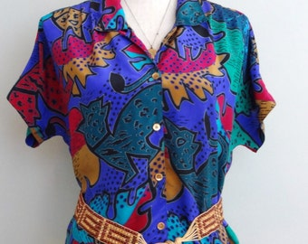 Campus of California vintage 80s short Sleeve Top indie Urban Tribal Blouse M/L
