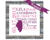 New Baby Gift Personalized Birth Announcement FRAMED State Map Keepsake Print - Any Location Available Worldwide Nursery Art Welcome Baby