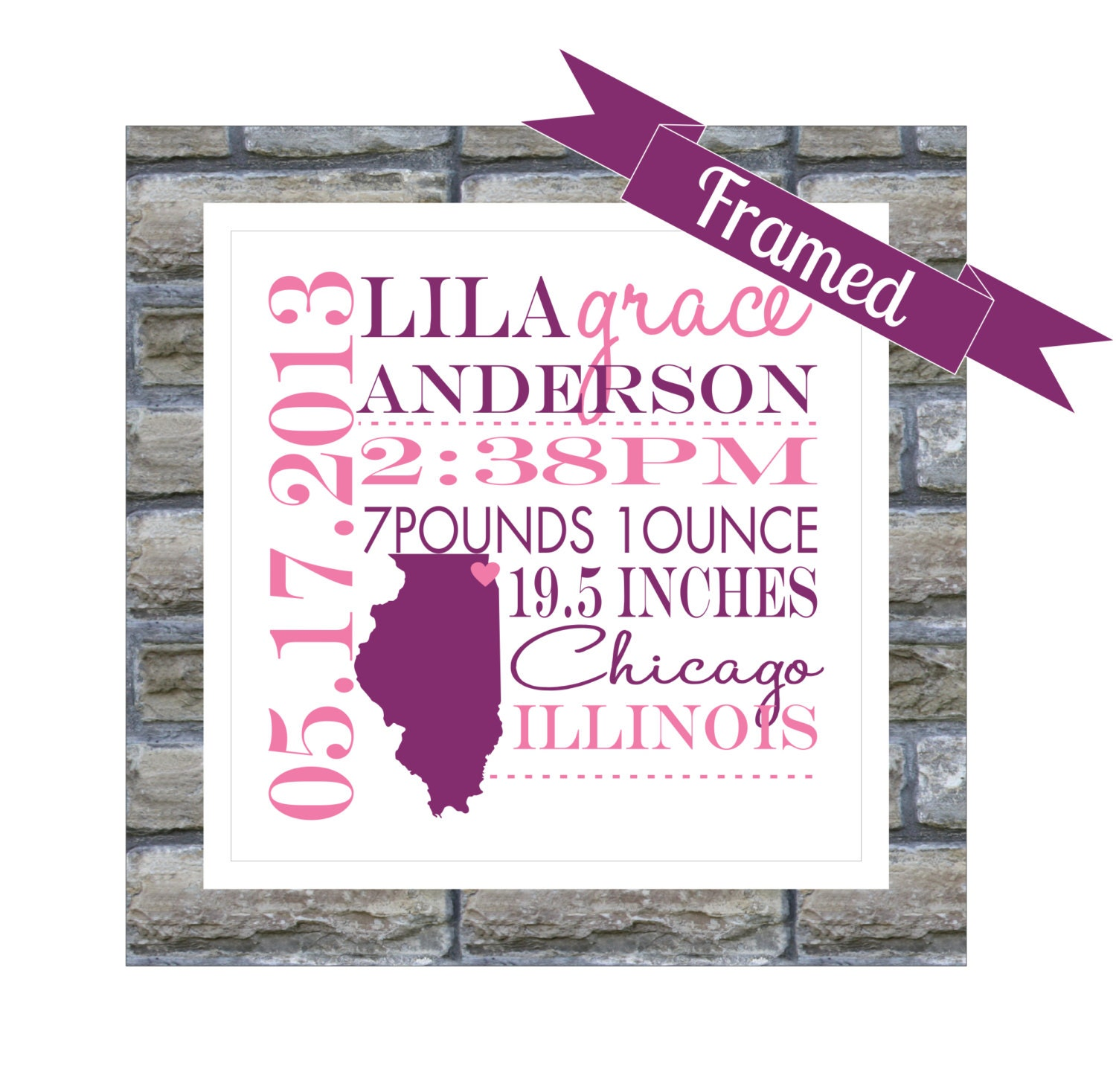 New Baby Gift Personalized Birth Announcement FRAMED State Map – Birth Announcements Etsy